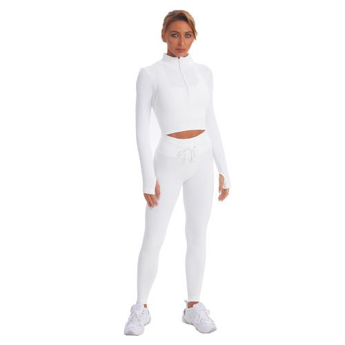White Seamless Stand Collar Jacket with Pant Yoga Set TQK710415-1