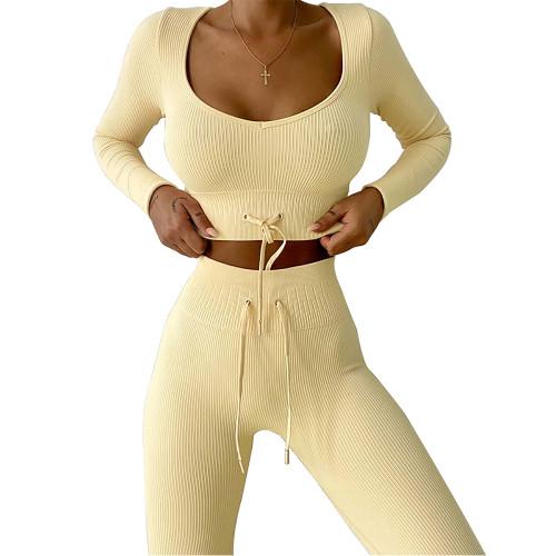 Yellow Knitted Seamless Long Sleeve Yoga Set TQK710414-7