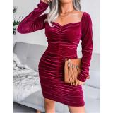 Wine Red Golden Velvet Square Neck Long Sleeve Bodycon Dress TQK310710-23