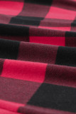 Plus Size Red Black Buffalo Plaid Hoodie LC2538232-3