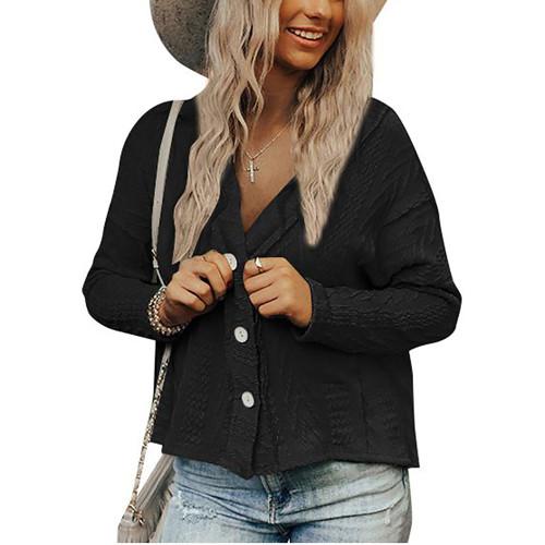 Black Short Style Button-up Cardigan TQK271379-2