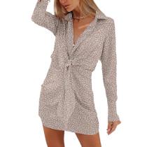Apricot Leopard Print Tie Waist Long Sleeve Mini Dress TQK310690-18