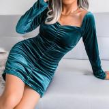 Cyan Golden Velvet Square Neck Long Sleeve Bodycon Dress TQK310710-68