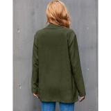 Army Green Corduroy Single-breasted Blazer with Pockets TQK260047-27