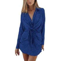 Blue Leopard Print Tie Waist Long Sleeve Mini Dress TQK310690-5