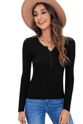 Black Women Henley Long Sleeve T Shirt LC25111204-2