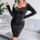 Black Golden Velvet Square Neck Long Sleeve Bodycon Dress TQK310710-2