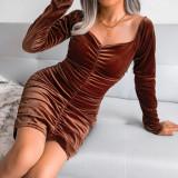Brown Golden Velvet Square Neck Long Sleeve Bodycon Dress TQK310710-17