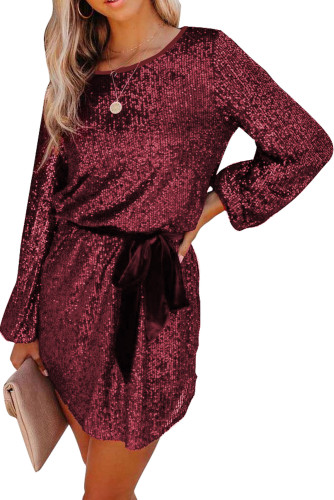 Wine Red Loose Long Sleeve Sequin Dress with Sash LC228238-3