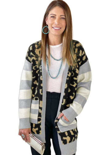 Leopard Print Cardigan with Striped Sleeve LC271384-2