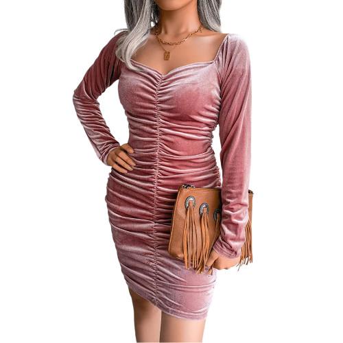 Pink Golden Velvet Square Neck Long Sleeve Bodycon Dress TQK310710-10