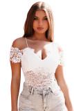 White Cold Shoulder Spaghetti Straps Lace Bodysuit LC32873-1