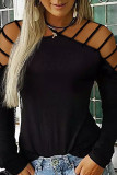 Hollow-out Slim-fit Long Sleeve Top LC25110832-2
