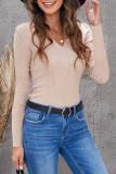 Apricot Women Henley Long Sleeve T Shirt LC25111204-18