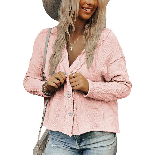 Pink Short Style Button-up Cardigan TQK271379-10