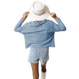 Light Blue Short Style Button-up Cardigan TQK271379-30