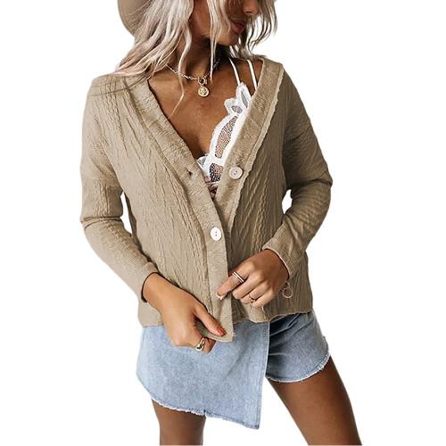 Khaki Short Style Button-up Cardigan TQK271379-21