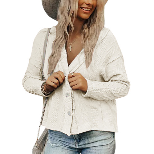 White Short Style Button-up Cardigan TQK271379-1