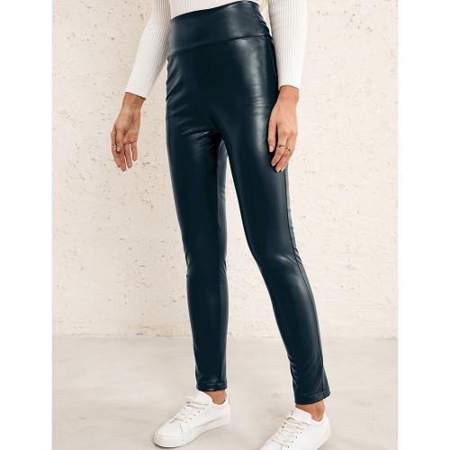 Navy Blue PU High Waist Motorcycle Leather Pants TQK530036-34