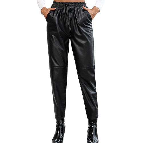 Black PU Motorcycle Casual Leather Pants TQK530038-2