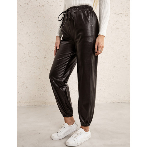 Coffee PU Elastic Waist Motorcycle Loose Leather Pants TQK530037-15