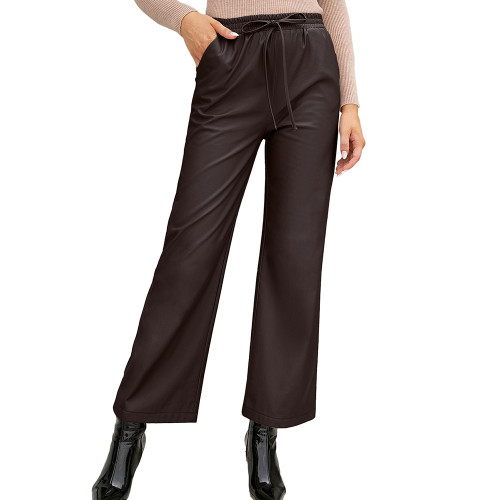 Coffee PU High Waist Wide Leg Motorcycle Pants TQK530039-15