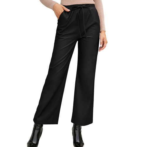 Black PU High Waist Wide Leg Motorcycle Pants TQK530039-2