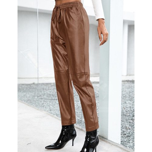 Brown PU Motorcycle Casual Leather Pants TQK530038-17