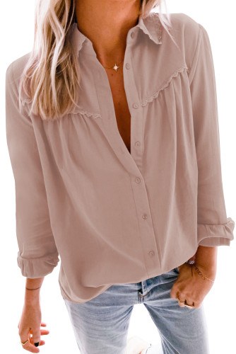 Pink Plain Pleated Bust Cuffed Sleeves Shirt LC255945-10
