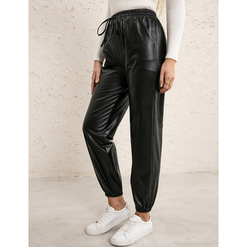 Black PU Elastic Waist Motorcycle Loose Leather Pants TQK530037-2