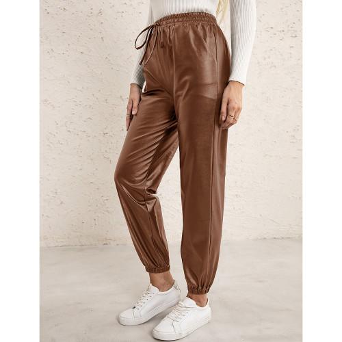 Brown PU Elastic Waist Motorcycle Loose Leather Pants TQK530037-17