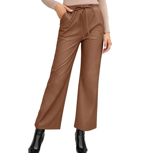 Brown PU High Waist Wide Leg Motorcycle Pants TQK530039-17