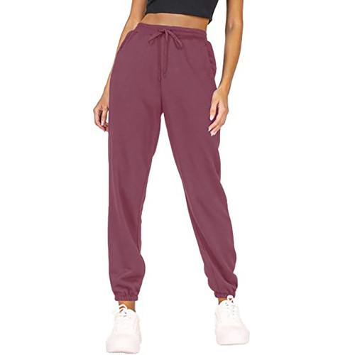 Purple Red Loose Sports Running Pants TQK530035-32
