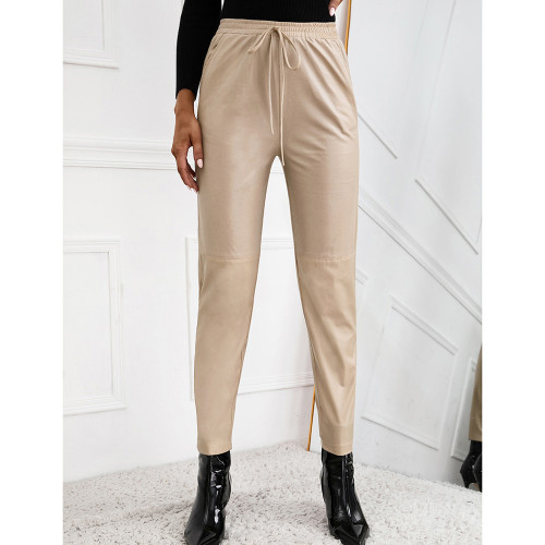 Apricot PU Motorcycle Casual Leather Pants TQK530038-18