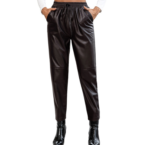 Coffee PU Motorcycle Casual Leather Pants TQK530038-15