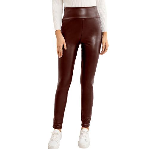 Wine Red PU High Waist Motorcycle Leather Pants TQK530036-23