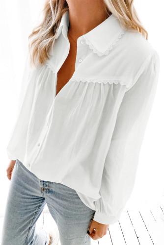 White Plain Pleated Bust Cuffed Sleeves Shirt LC255945-1