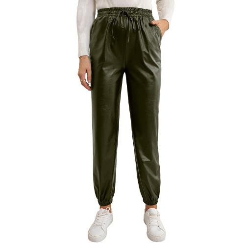 Army Green PU Elastic Waist Motorcycle Loose Leather Pants TQK530037-27