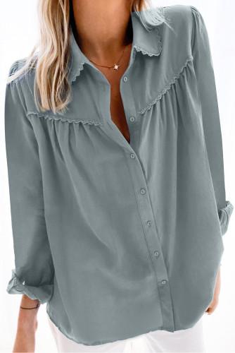 Plain Pleated Bust Cuffed Sleeves Shirt LC255945-4