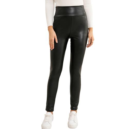 Black PU High Waist Motorcycle Leather Pants TQK530036-2