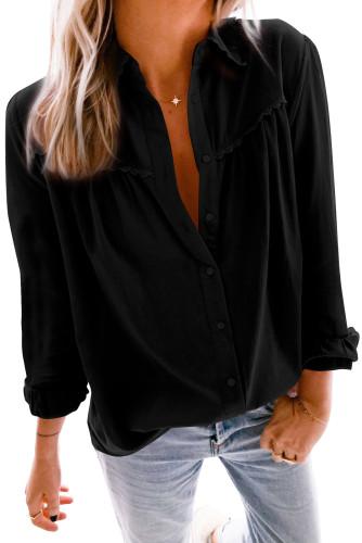 Black Plain Pleated Bust Cuffed Sleeves Shirt LC255945-2