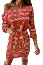 Christmas Pattern Print Lace-up Long Sleeve Mini Dress LC2210252-3