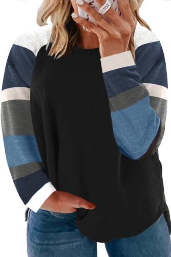 Black Plus Size Colorblock Sleeve Splicing Top LC2518128-2