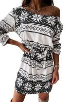 White Christmas Pattern Print Lace-up Long Sleeve Mini Dress LC2210252-1