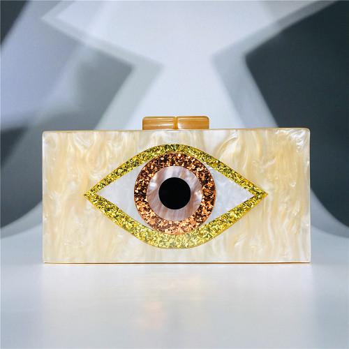 Yellow Evil Eye Acrylic Evening Handbags Shoulder Chain Bag H0702-7