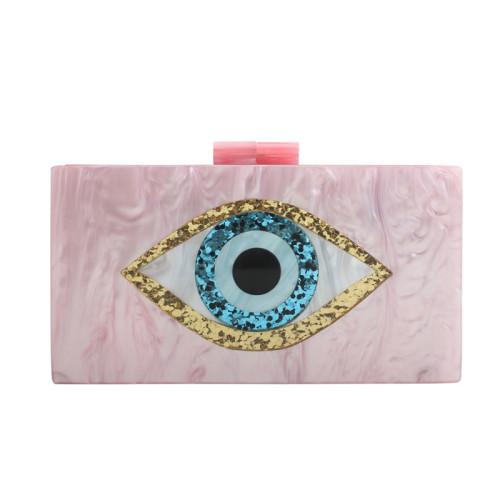 Pink Evil Eye Acrylic Evening Handbags Shoulder Chain Bag H0702-10