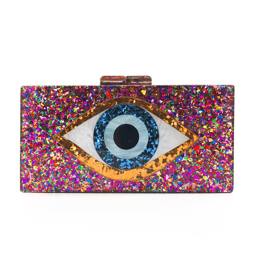 Multicolor Evil Eye Acrylic Evening Handbags Shoulder Chain Bag H0702-29