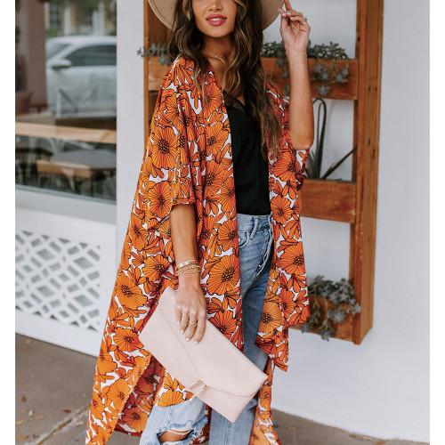 Orange Floral Print 1/2 Sleeves Chiffon Kimono TQK650089-14