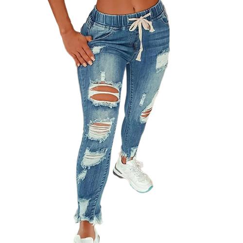 Light Blue Distressed Drawstring Waist Hole Jeans TQK530056-30