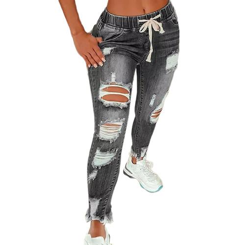 Gray Distressed Drawstring Waist Hole Jeans TQK530056-11